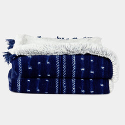 Indigo and faux fur throw front view