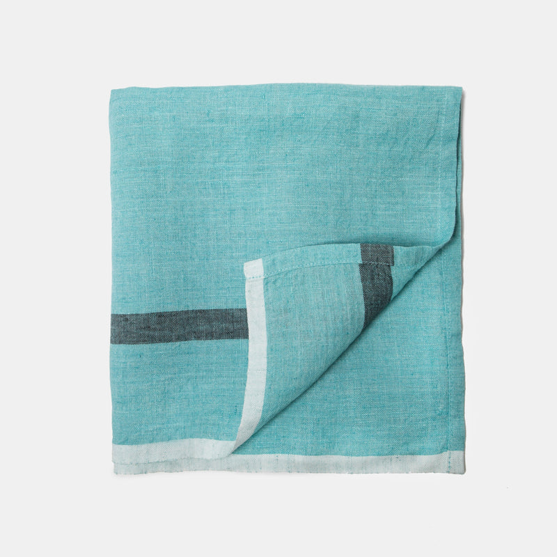 Aqua linen table runner front view