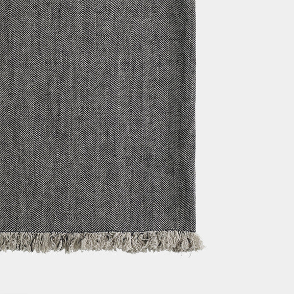 Natural Linen Throw in Charcoal