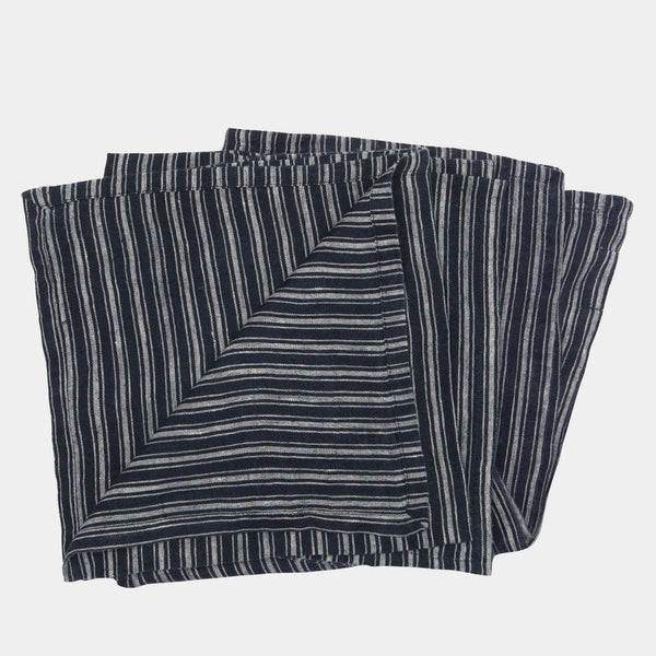Stonewashed Linen Napkin in Navy Stripe