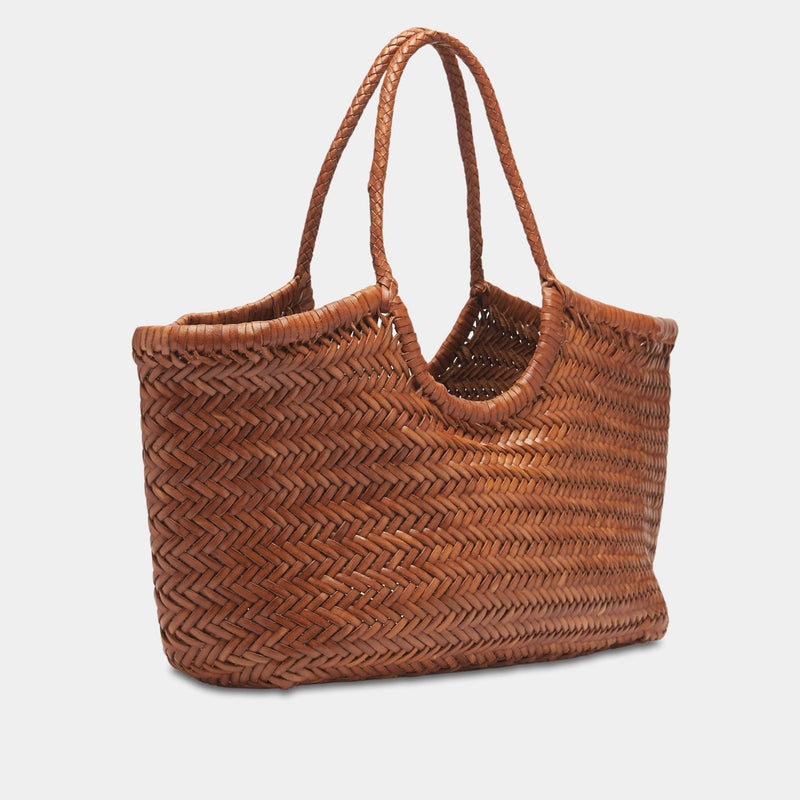 Handwoven Leather Tote in Tan