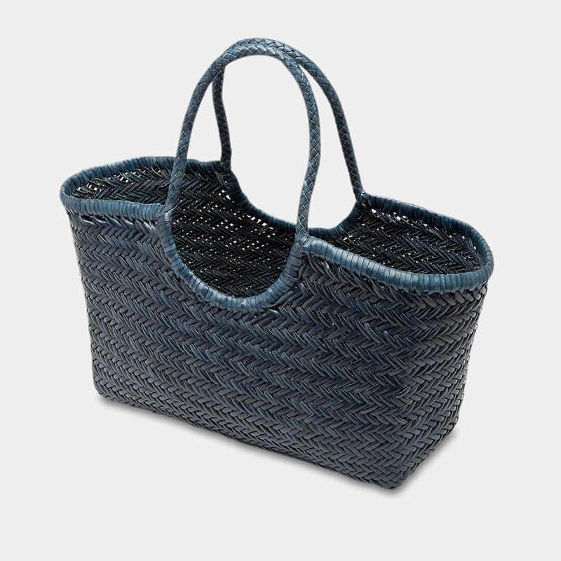 Handwoven Leather Tote in Bleu