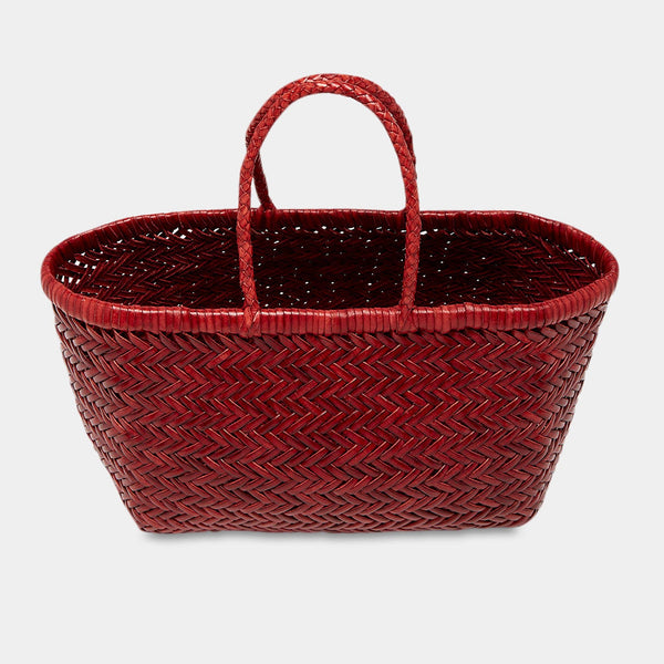 Handwoven Leather Tote in Bordo
