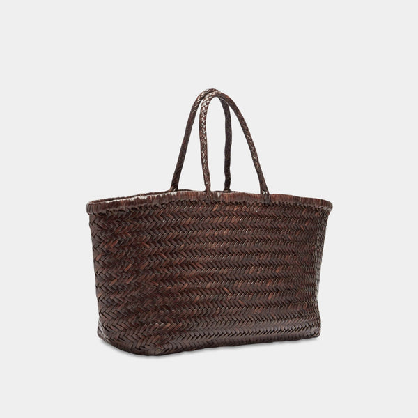 Handwoven Leather Tote in Dark Brown