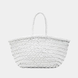 Handwoven Leather Tote in White