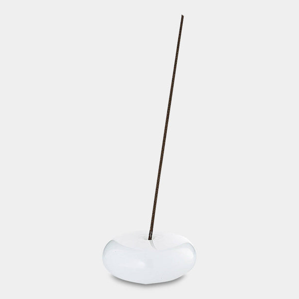 Glass Pebble Incense Holder in White