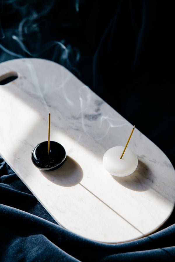 Glass Pebble Incense Holder in Black