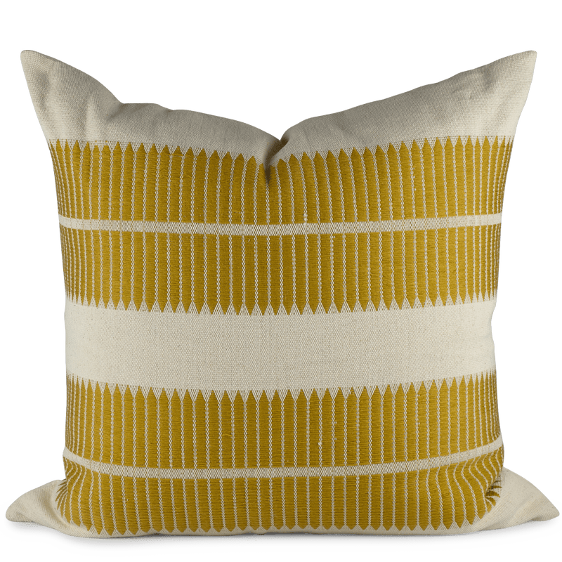 Mustard woven pillow front view