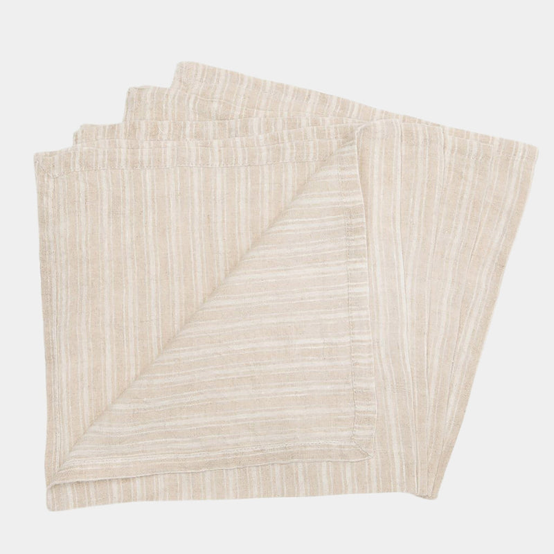 Stonewashed Linen Napkin in Natural Stripe