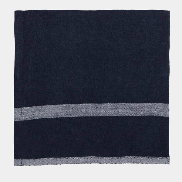 Stonewashed Linen Table Runner in Navy