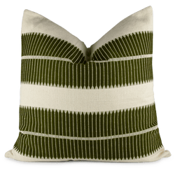 Olive woven pillow front view