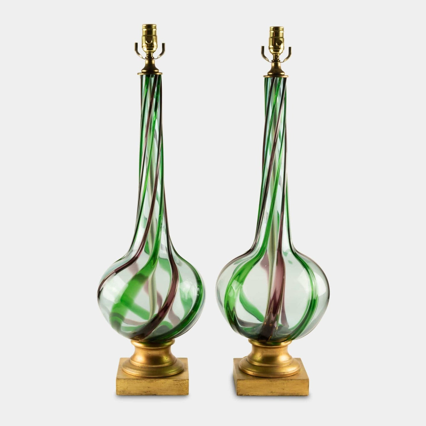 Mid-Century modern murano table lamps front view