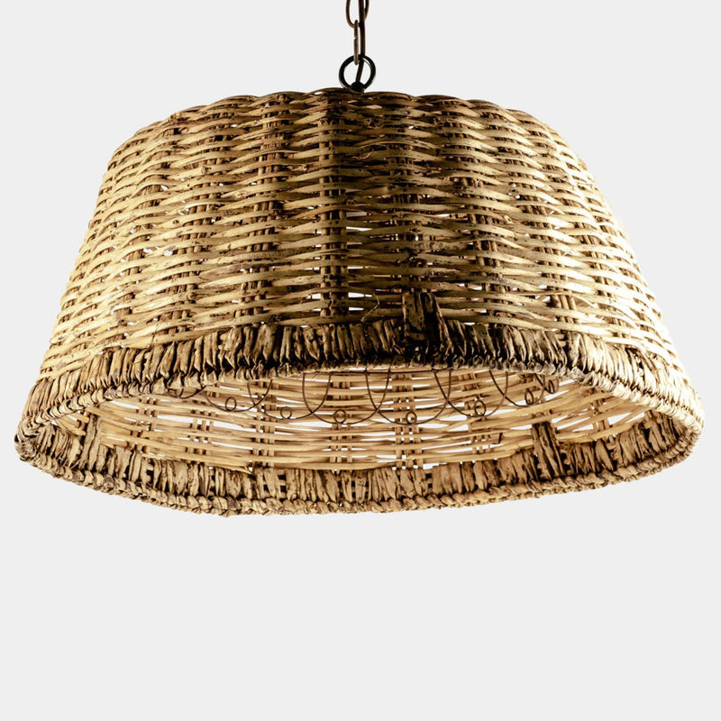 Wicker basket pendant front view