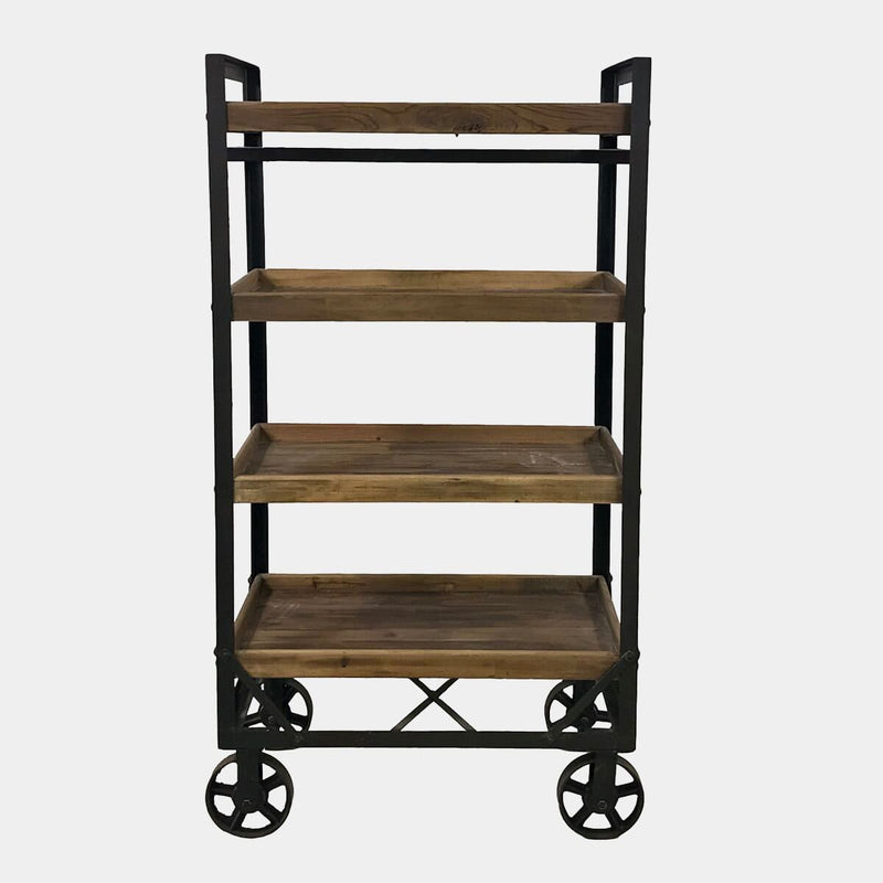 Vintage rolling rack front view