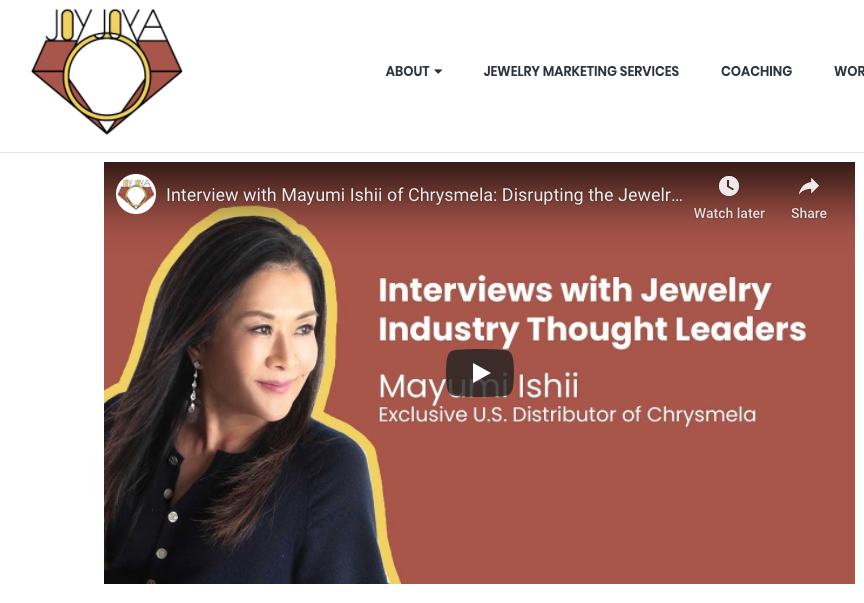 Podcast:  JoyJoya Interviews with Jewelry Industry Thought Leaders
