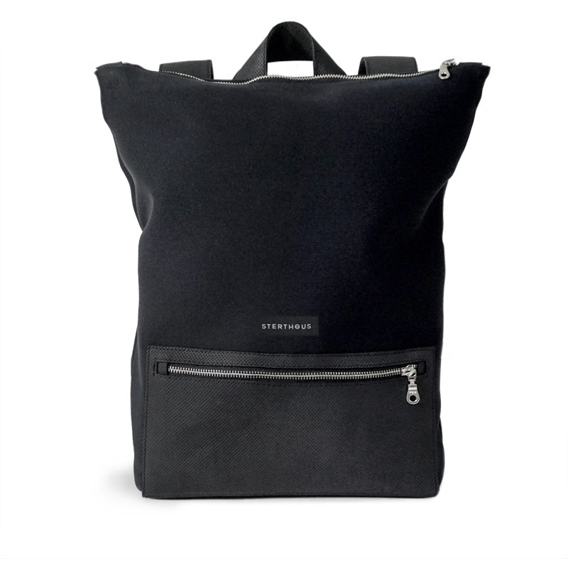 STERTHOUS - Black Neoprene Backpack with perforated leather and laptop pocket