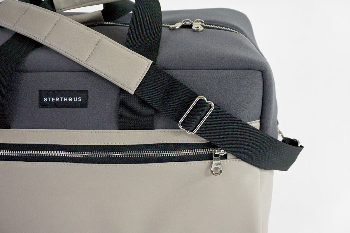 STERTHOUS - neoprene weekender with vegan leather | sustainable product design