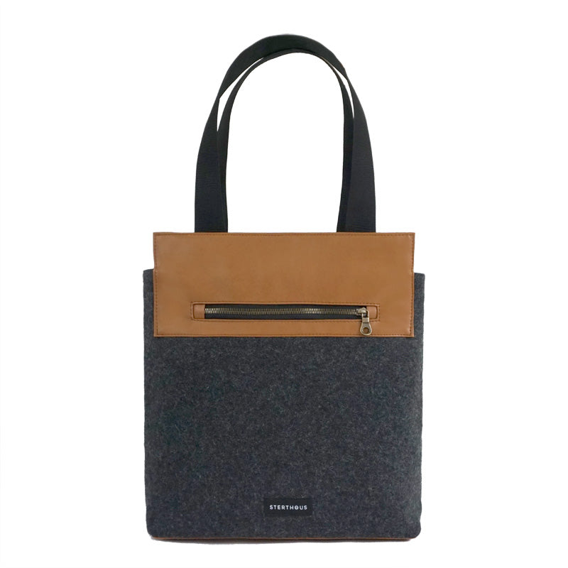 STERTHOUS - felted wool and vegan leather tote bag | sustainable product design | made in USA