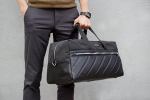 STERTHOUS - black vegan leather hand-quilted weekender