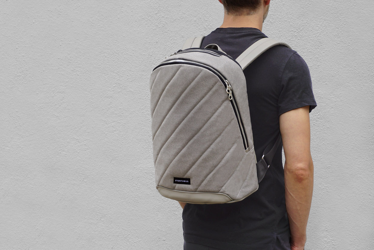 STERTHOUS - hand-quilted laptop backpack with vegan leather | sustainable product design | made in USA