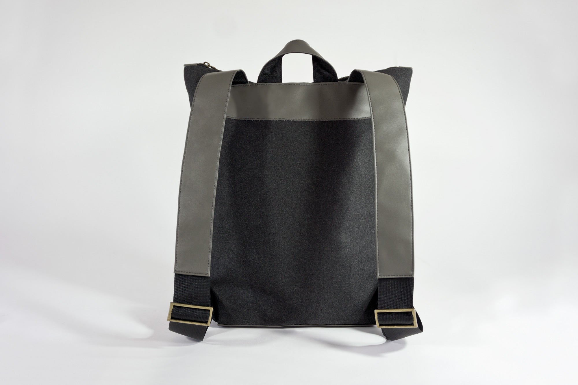 STERTHOUS - charcoal and sage green laptop backpack with vegan leather details
