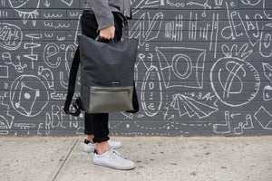 STERTHOUS - charcoal and sage green laptop backpack with vegan leather details | sustainable product design