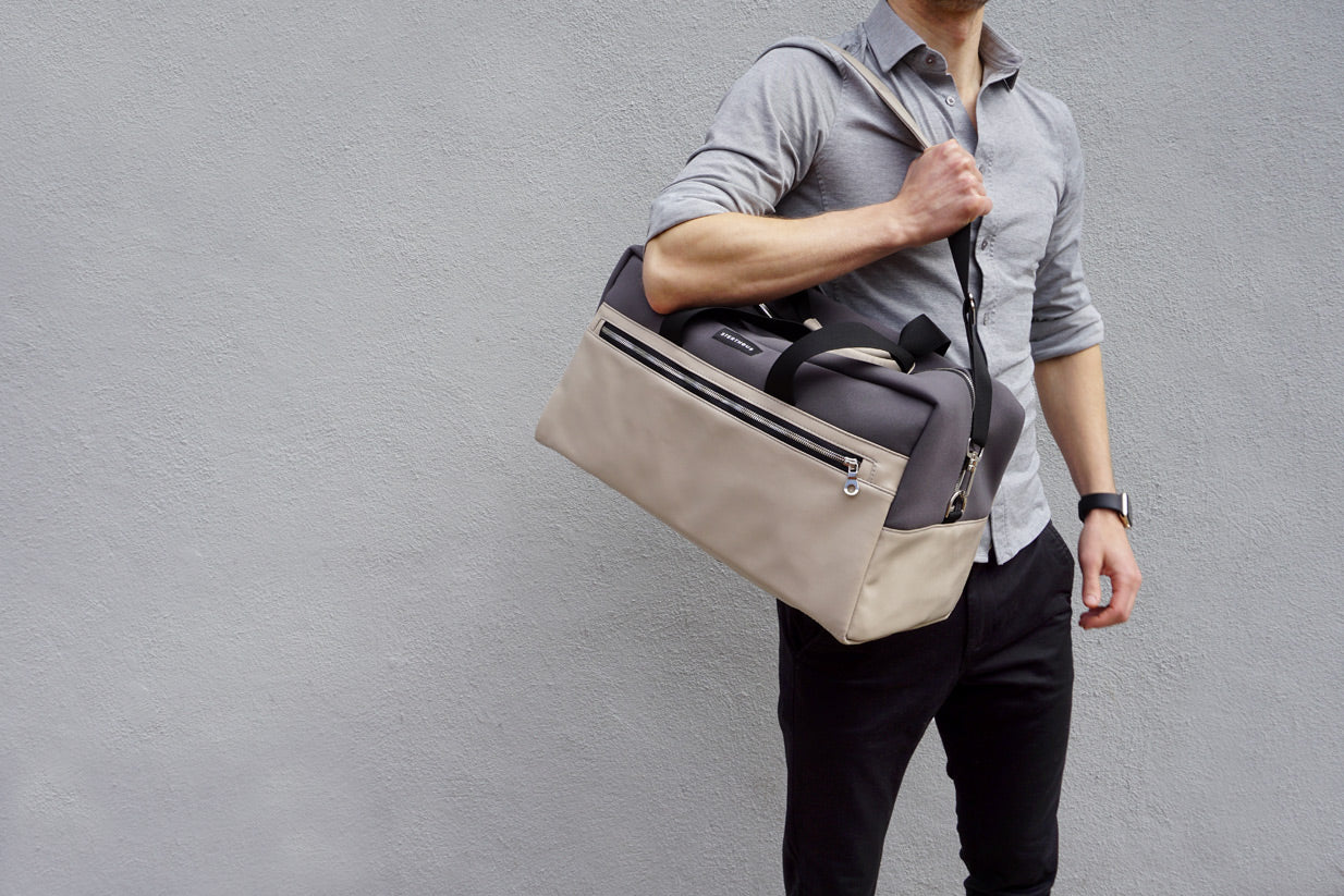 STERTHOUS - neoprene weekender with vegan leather | sustainable product design | made in USA