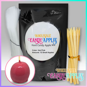 DIY Apple Kit-Hot Pink Plain Candy Apple- $18.00 each