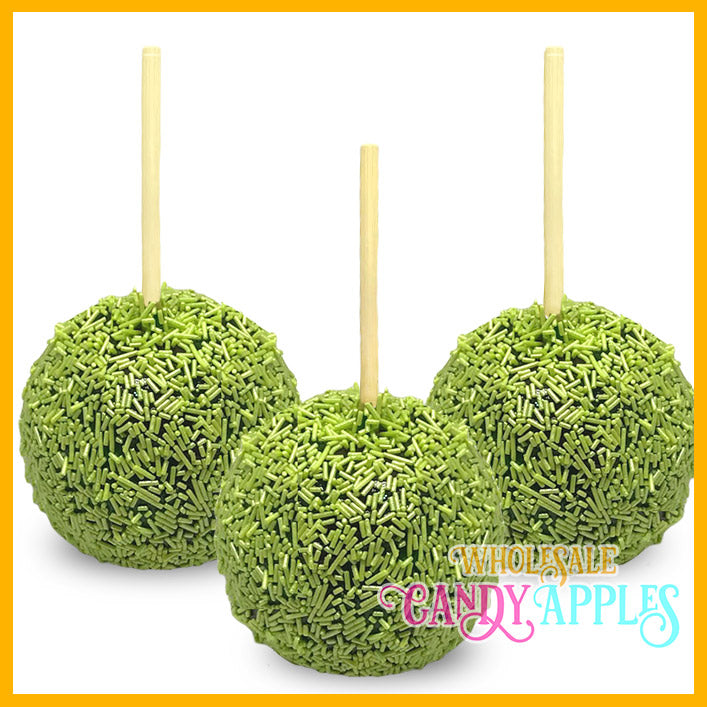 Shimmer Lime Green Sprinkle Candy Apples
