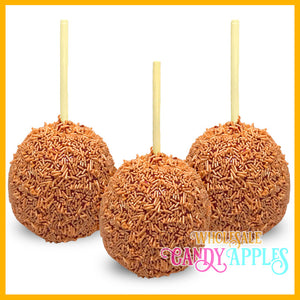 Shimmer Orange Sprinkle Candy Apples