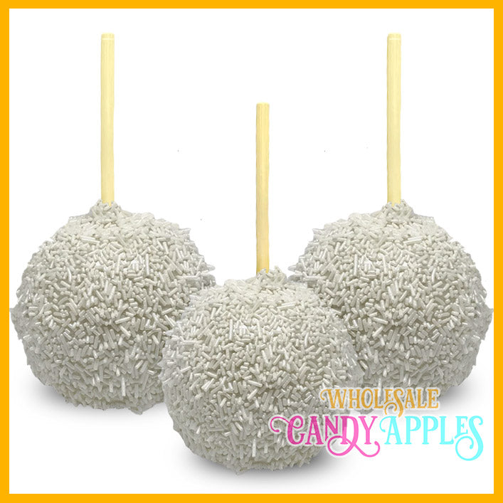Shimmer White Sprinkle Candy Apples