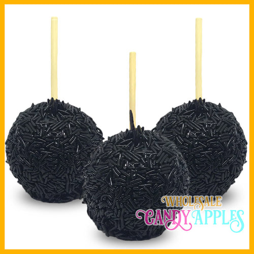 Black Sprinkle Candy Apples