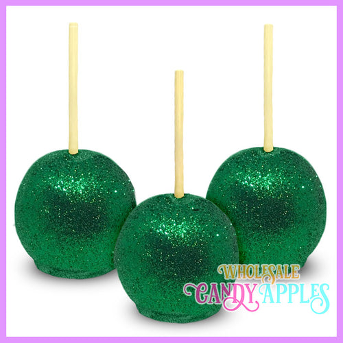 Green Glitter Candy Apples