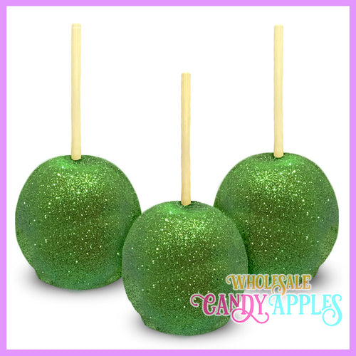 Lime Green Glitter Candy Apples