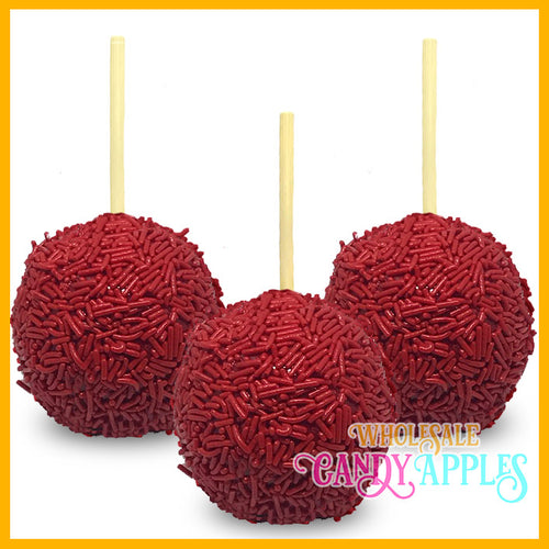 Red Sprinkle Candy Apples