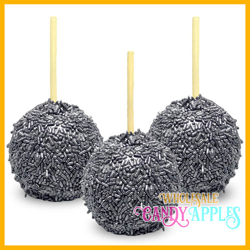 Shimmer Silver Sprinkle Candy Apples