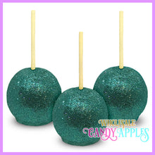 Teal Glitter Candy Apples