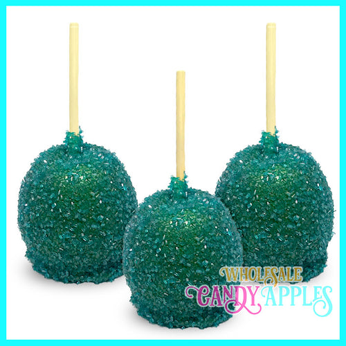 Teal Sugar Crystal Candy Apple