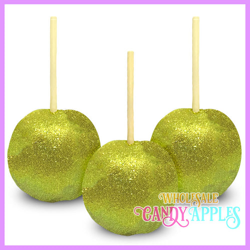 Yellow Glitter Candy Apples