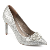 Brinley Co. Womens Faux Leather Jewel Pointed Toe Glitter Heels