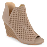 Brinley Co. Womens Faux Suede Laser Cut Open-toe Wedges