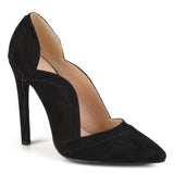 Brinley Co. Womens Pointed Toe Scalloped Faux Suede High Heel Pumps