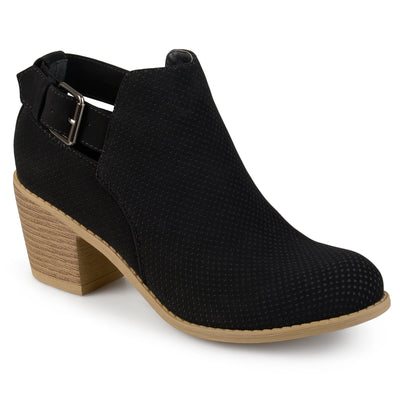 Brinley Co. Womens Laser Dot Buckle Booties
