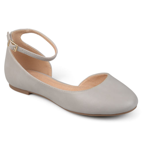 Brinley Co. Womens Aro Faux Leather Wide Width Ankle Strap Round Toe D'orsay Flats