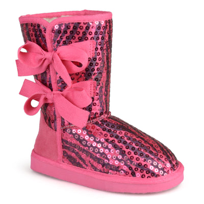 Brinley Kids Toddler Little Kids Bow Sequined Boots