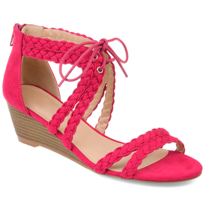 Brinley Co. Womens Lace-up Braid Wedge