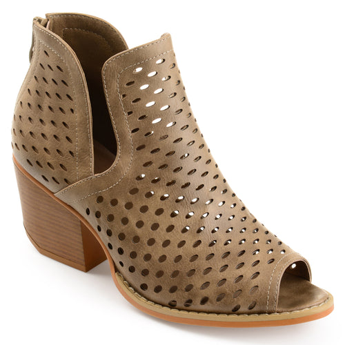 Perforated Side-slit Open-toe Booties
