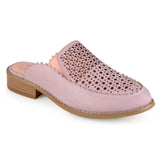 Brinley Co. Womens Slide-on Laser Cut Faux Leather Mules