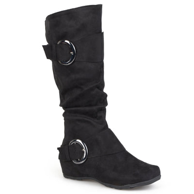 Brinley Co. Womens Extra Wide Calf Mid-calf Slouch Riding Boots