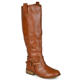 Brinley Co. Womens Regular and Wide-Calf Knee-High Ankle-Strap Riding Boot